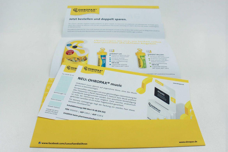 Ohropax Mailing Nimm zwei Karten
