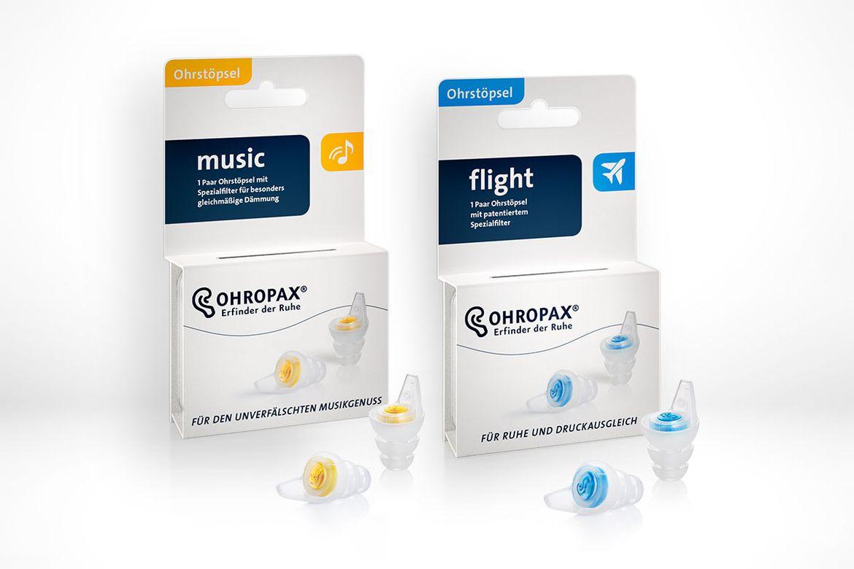 Ohropax- Neue Verpackung Ohrstöpsel music und flight