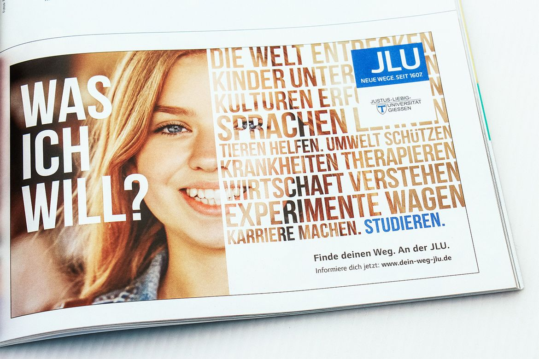 Anzeigenmotiv JLU Kampagne Studierende