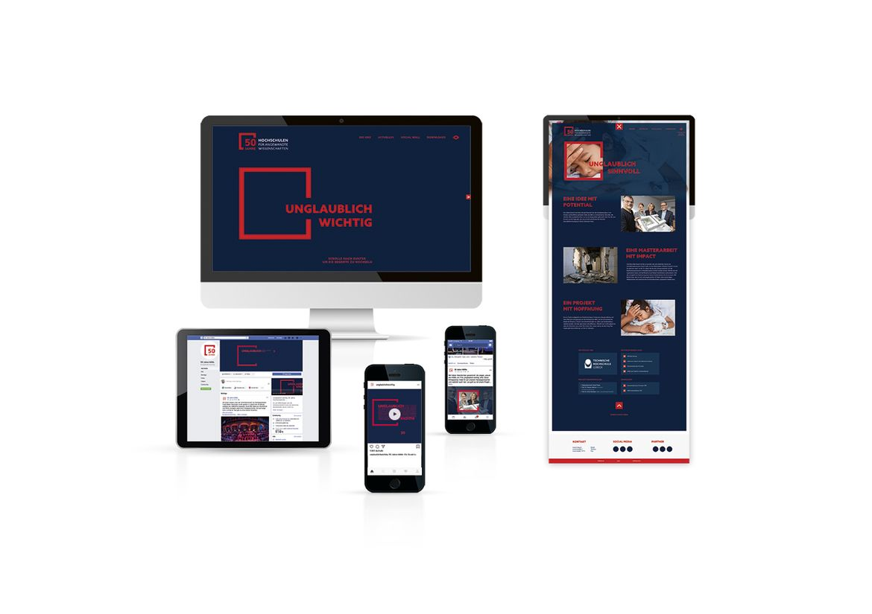Mock-Ups der digitalen Umsetzung der Kampagne 50 Jahre HAWs