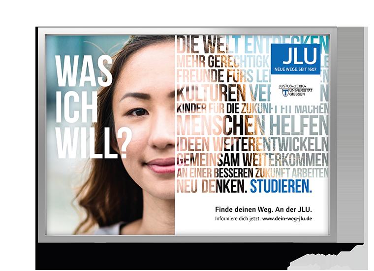 Motiv Weiblich JLU Kampagne Studierende