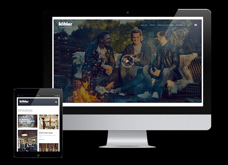 Köhler Männermode Webseite und Stylemag