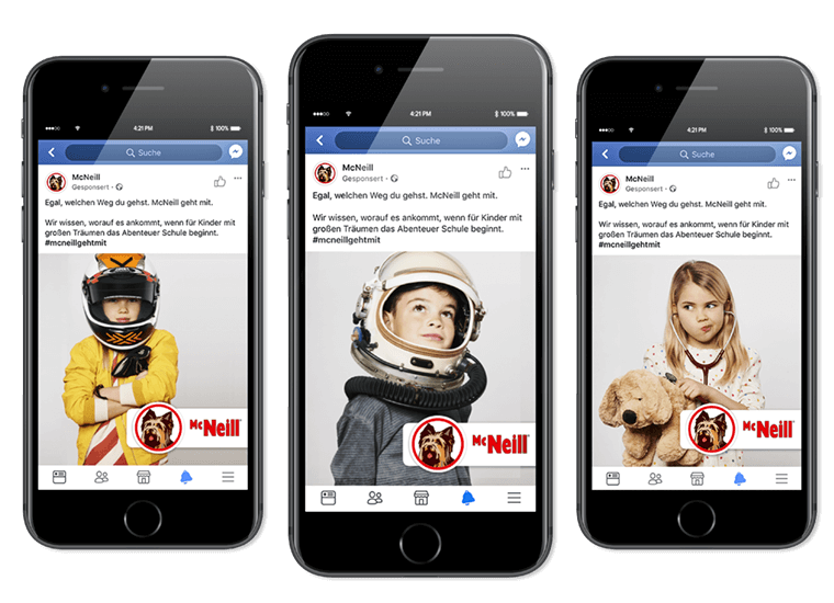 """McNeill Kampagne """"McNeill geht mit"""" Facebook- & Instagram-Anzeigen"""