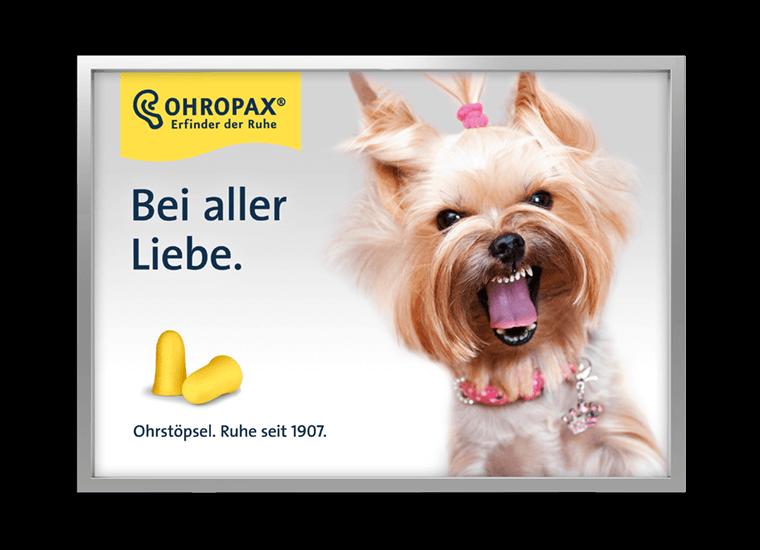"""OHROPAX Großfläche """"Bei aller Liebe - Hund"""""""