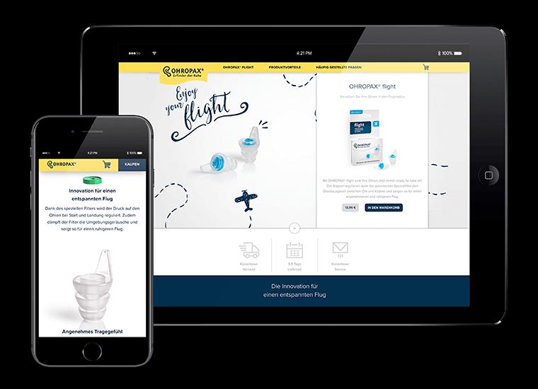 OHROPAX Landingpages mit Onlineshop