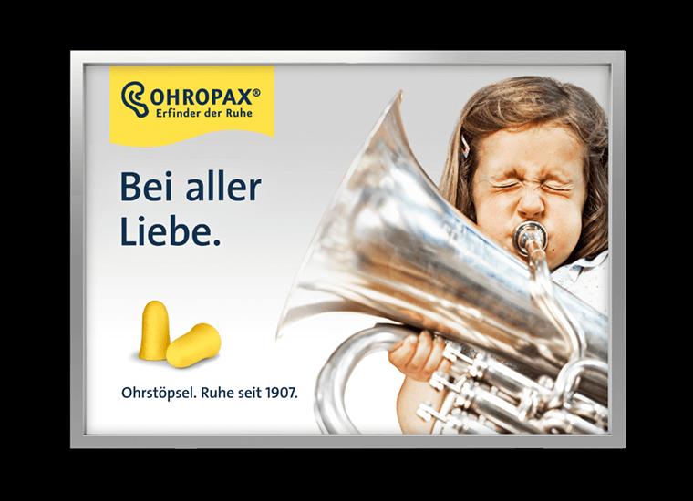 """OHROPAX Großfläche """"Bei aller Liebe - Tuba"""""""