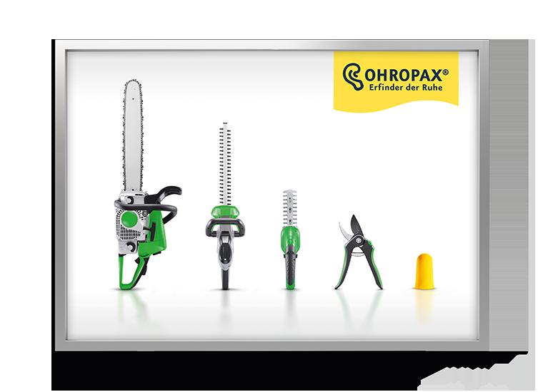 Ohropax Kampagne Laermtreppe - Gartengeräte