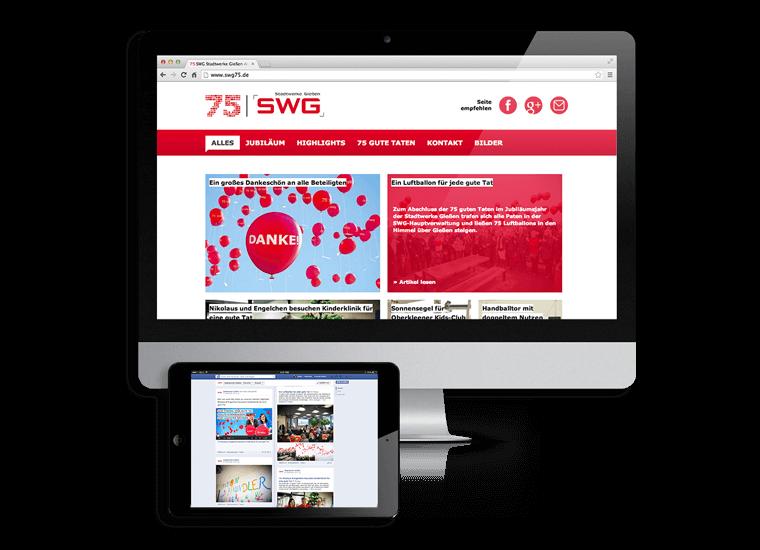 SWG 75 Jahre Website und Facebook